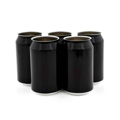330 ml svarte ølbokser i solid eske